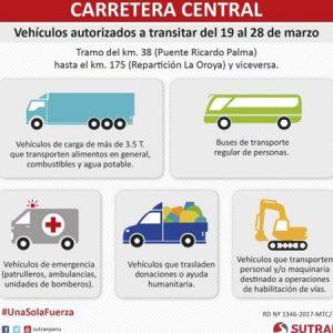 Carretera Central: Restringen tránsito de vehículos menores hasta el 28 de marzo