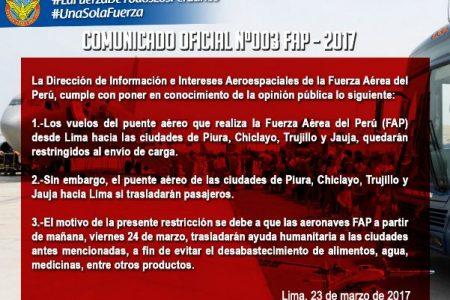 FAP: Solo se trasladarán pasajeros desde Piura, Chiclayo, Trujillo y Jauja hacia Lima