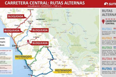 Sutran recomienda usar rutas alternas debido al cierre de la Carretera Central