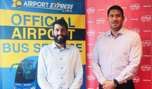 José de la Puente, Gerente de Marketing de Airport Express Lima; y a Rafael Hospina, Vicepresidente y CEO para Latinoamérica de redBus
