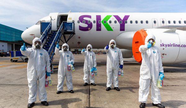 Sky desinfecta sus aviones