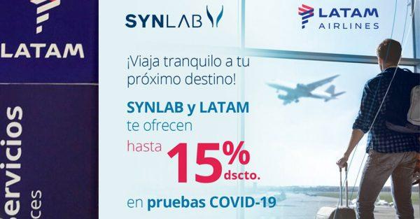 Pasajeros de LATAM se beneficiarán en despistaje de COVID-19 por convenio con SYNLAB
